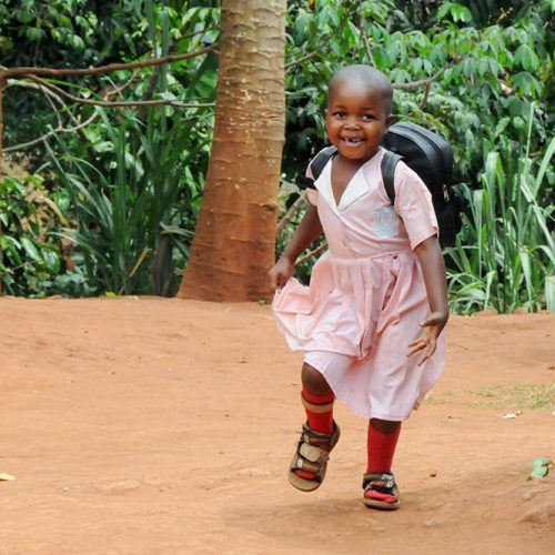 Esther running to school