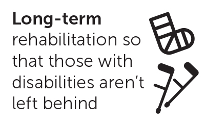 Long-term rehabilitation so that those with disabilities aren't left behind