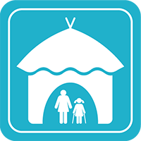 Hut with woman and child