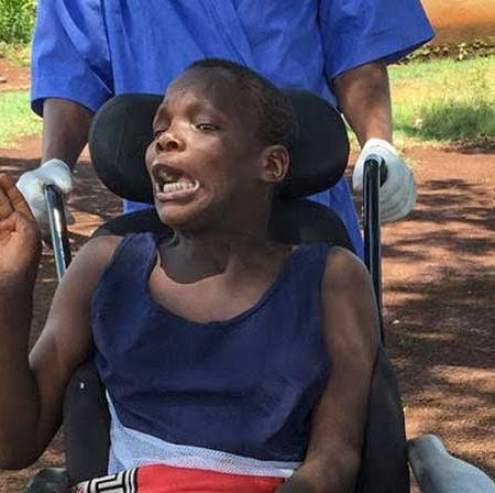 Nothando in her wheelchair